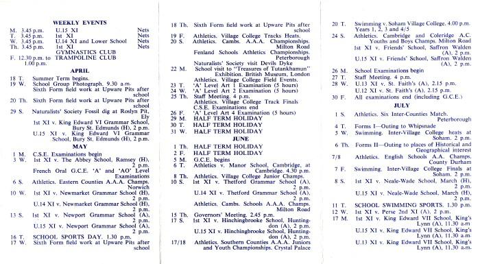Soham Grammarians Calendar Summer Term 1972